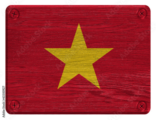 vietnam flag painted on wooden tag