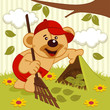 teddy bear sweeps lawn -  vector illustration