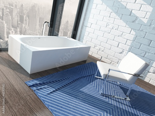 White bathtub against window with nice cityscape skyline view