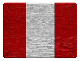 Peru flag painted on wooden tag