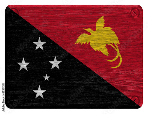 Papua New Guinea flag painted on wooden tag