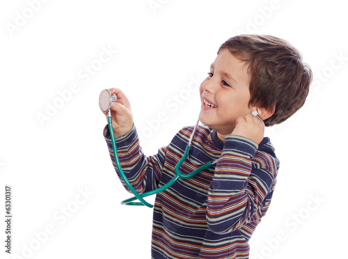 Little child wiht a stethoscope