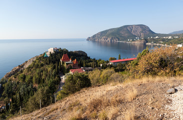 View of the village and cliff Ayu Dag.Krym