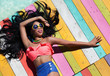 Leinwanddruck Bild - Tropical summer holiday woman fashion concept