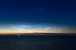 canvas print picture - Meteor über nachtleuchtenden Wolken