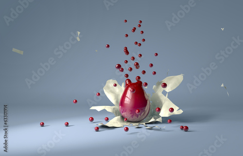 Explosion de billes rouges