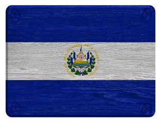 El Salvador flag painted on wooden tag