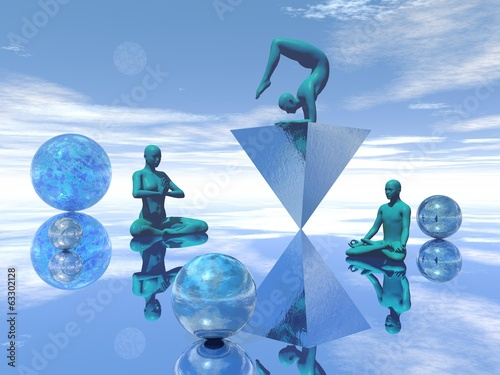 Blue meditation - 3D render