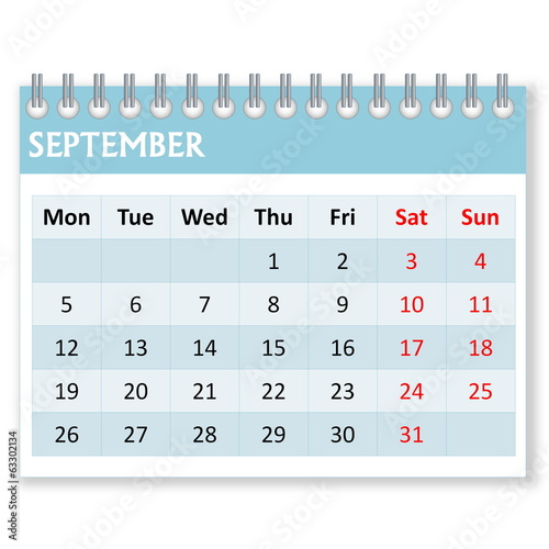 Calendar sheet for september