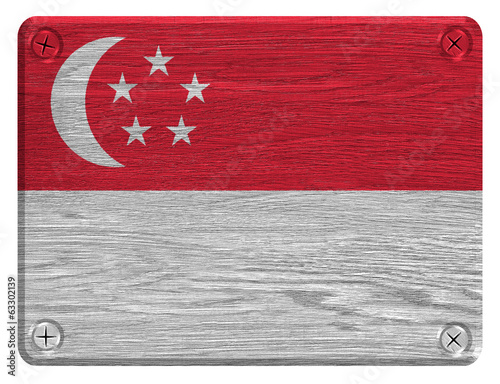Singapore flag painted on wooden tag