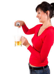 young woman with beer, white background