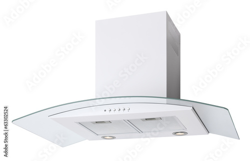 Modern white cooker hood isolated on white