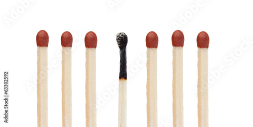 Many matches without burning and a burned match