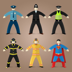 Professions set of policeman and fireman
