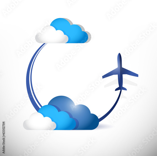 airplane flying path around clouds. illustration