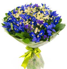 Bouquet of blue irises and daisies