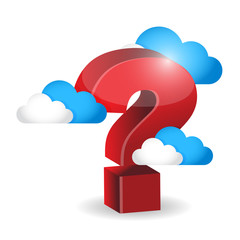 question mark around clouds. illustration
