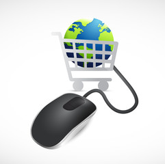 shopping cart globe and mouse. illustration