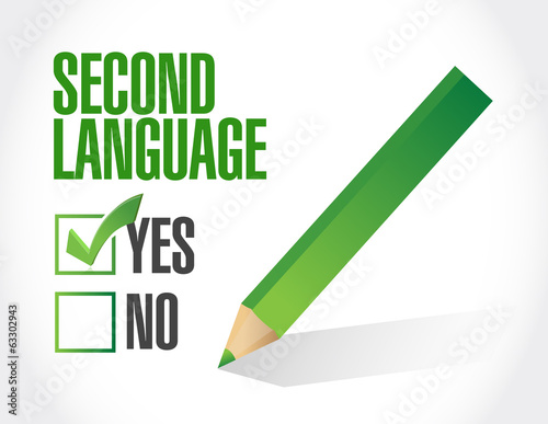 second language check mark illustration design
