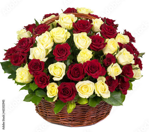 Natural red and yellow roses in a basket