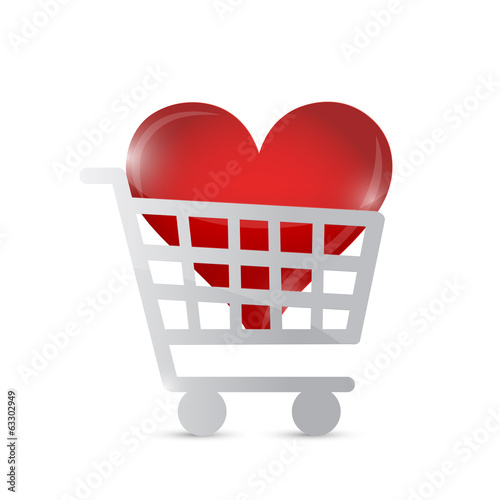 shopping cart heart illustration design