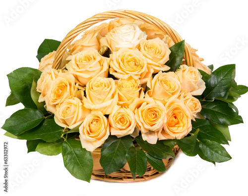 Natural yellow roses in a basket