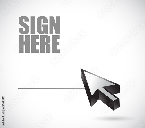 sign here and cursor illustration design