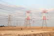 Power lines in the desert of Qatar, Middle East