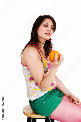 Girl with orange.