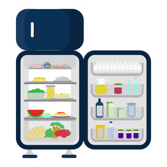 Open and full fridge of food