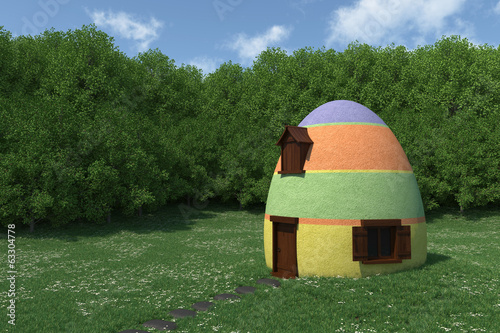 fantasy egg house on blooming meadow