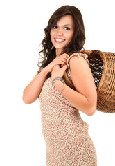 shopping girl with basket, white background