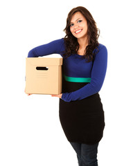 teen girl holding carton box, white background
