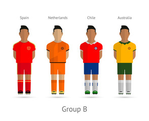 Football teams. Group B - Spain, Netherlands, Chile, Australia