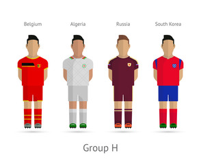 Football teams. Group H - Belgium, Algeria, Russia, South Korea