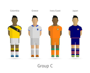 Football teams. Group C - Colombia, Greece, Ivory Coast, Japan