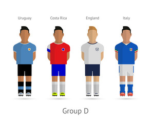 Football teams. Group D - Uruguay, Costa Rica, England, Italy