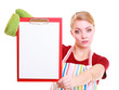 housewife barista in kitchen apron holds clipboard blank