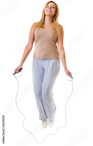 Sport girl fitness woman doing exercise with skip jump rope