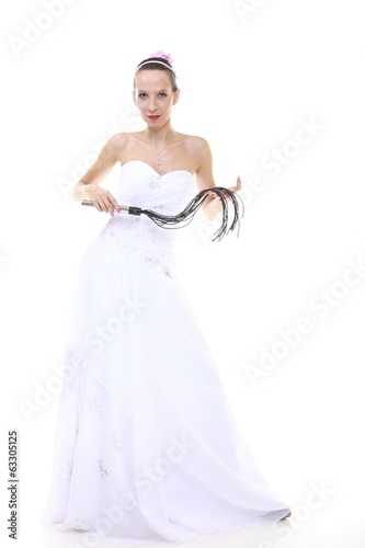 Wedding day. Bride with black flogging whip isolated