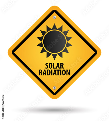 yellow solar radiation sign, danger