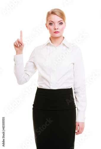 Business woman pressing button or pointing isolated