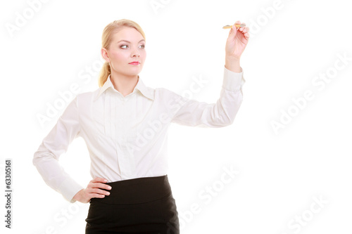Businesswoman with pen writing on screen whiteboard isolated