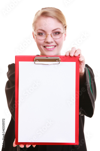 Woman lawyer attorney in polish gown holds clipboard blank sign