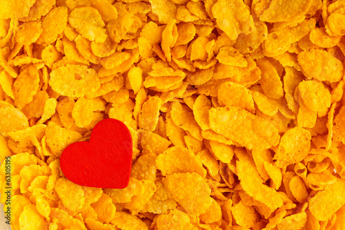 Health diet healthy breakfast. Love corn flakes background