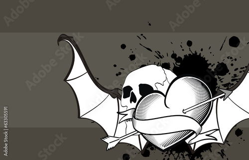 heart winged bat skull tattoo wallpaper