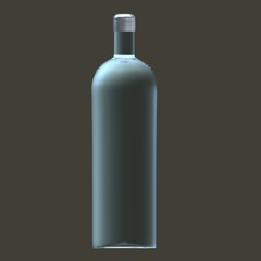 Glass of bottle with silver cap