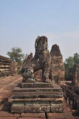 Stone lion of  Pre rup temple in Cambodia