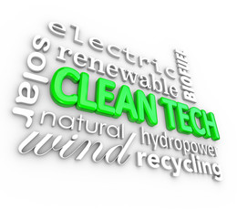 Clean Tech 3D Words Technology Disruptive Energy Power Business