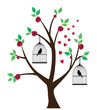 vector birds in cage in the tree with roses